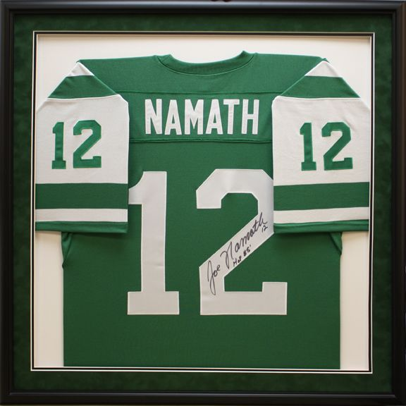 more photos 1ea17 bec4c Jets Namath #12 Football jersey in custom sports shadowbox ...