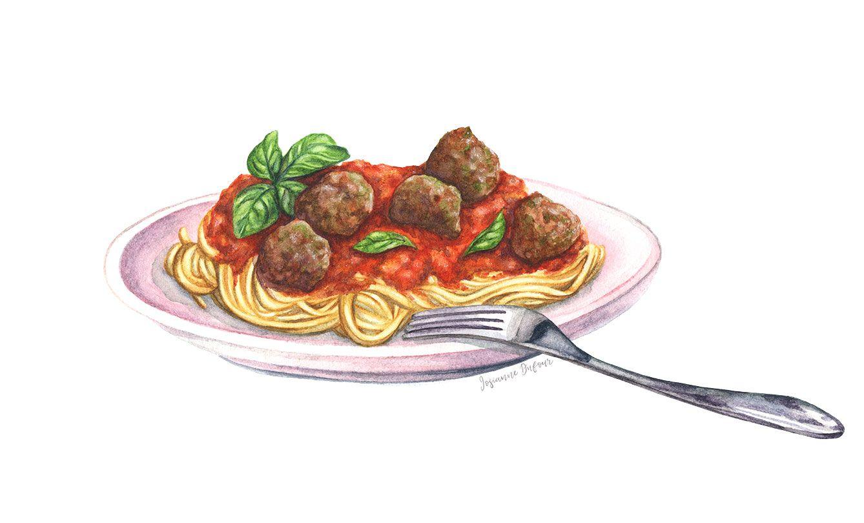 Watercolour Painting Of Pasta Aquarelle De Spaghetti Food Illustration By Illustrator Josia Watercolor Food Illustration Watercolor Food Food Illustrations