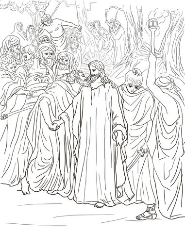 Judas Betrays Jesus With A Kiss Coloring Page Jesus Coloring