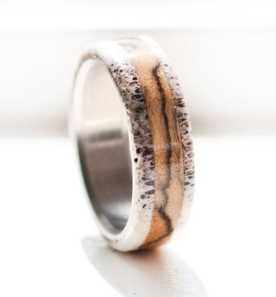 Mens Wedding Band Spalted Maple and Antler Ring Staghead Designs