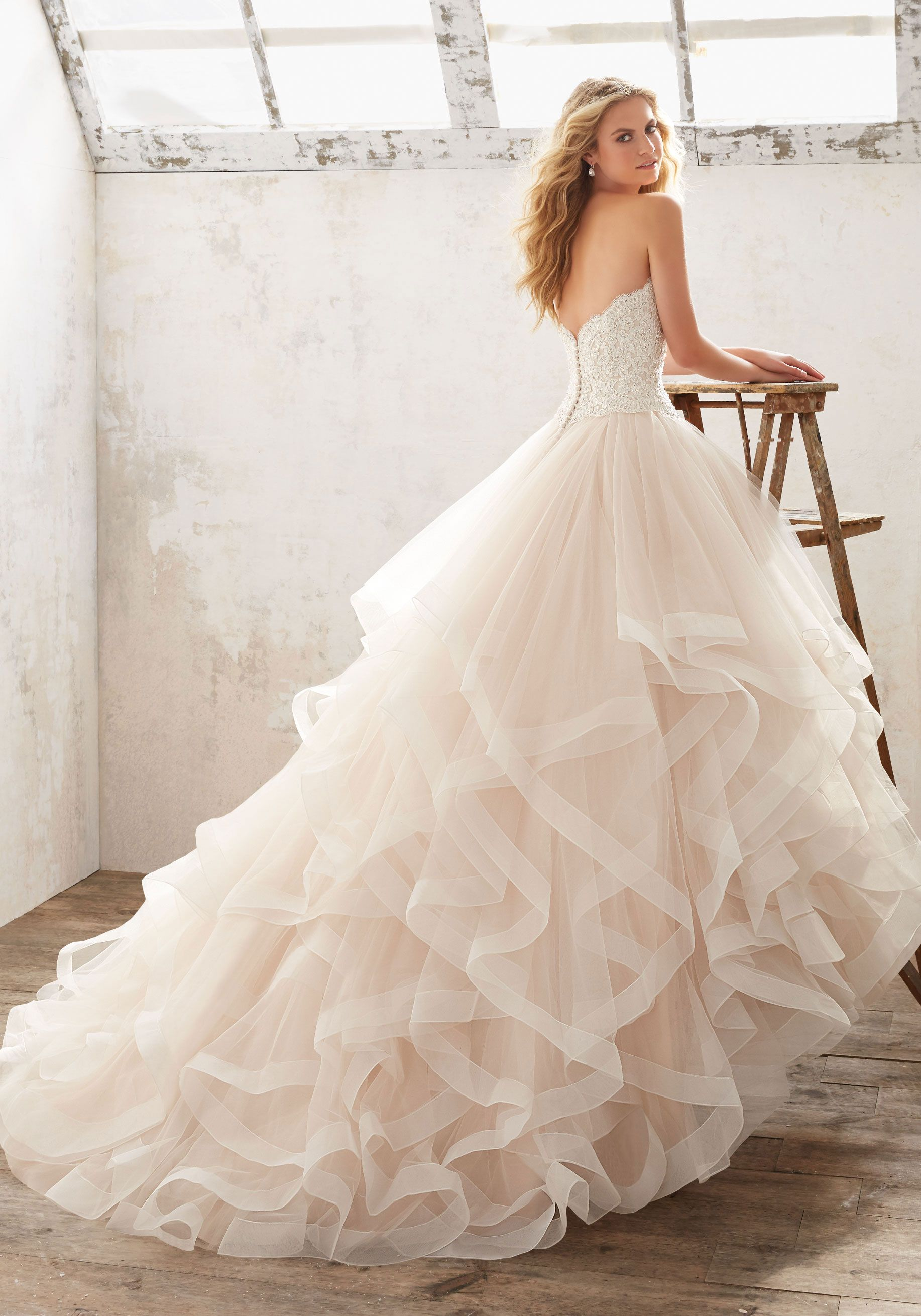 White lace texture bridal layered ruffled - Morilee By Madeline Gardner Marcia 8116 Soft And Ethereal Ruffled Bridal Ballgown Features A Crystal Beaded Alen On Lace Bodice And Horsehair Trimmed