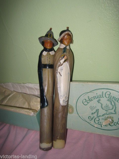 vintage colonial candle co cape cod thanksgiving pilgrims taper