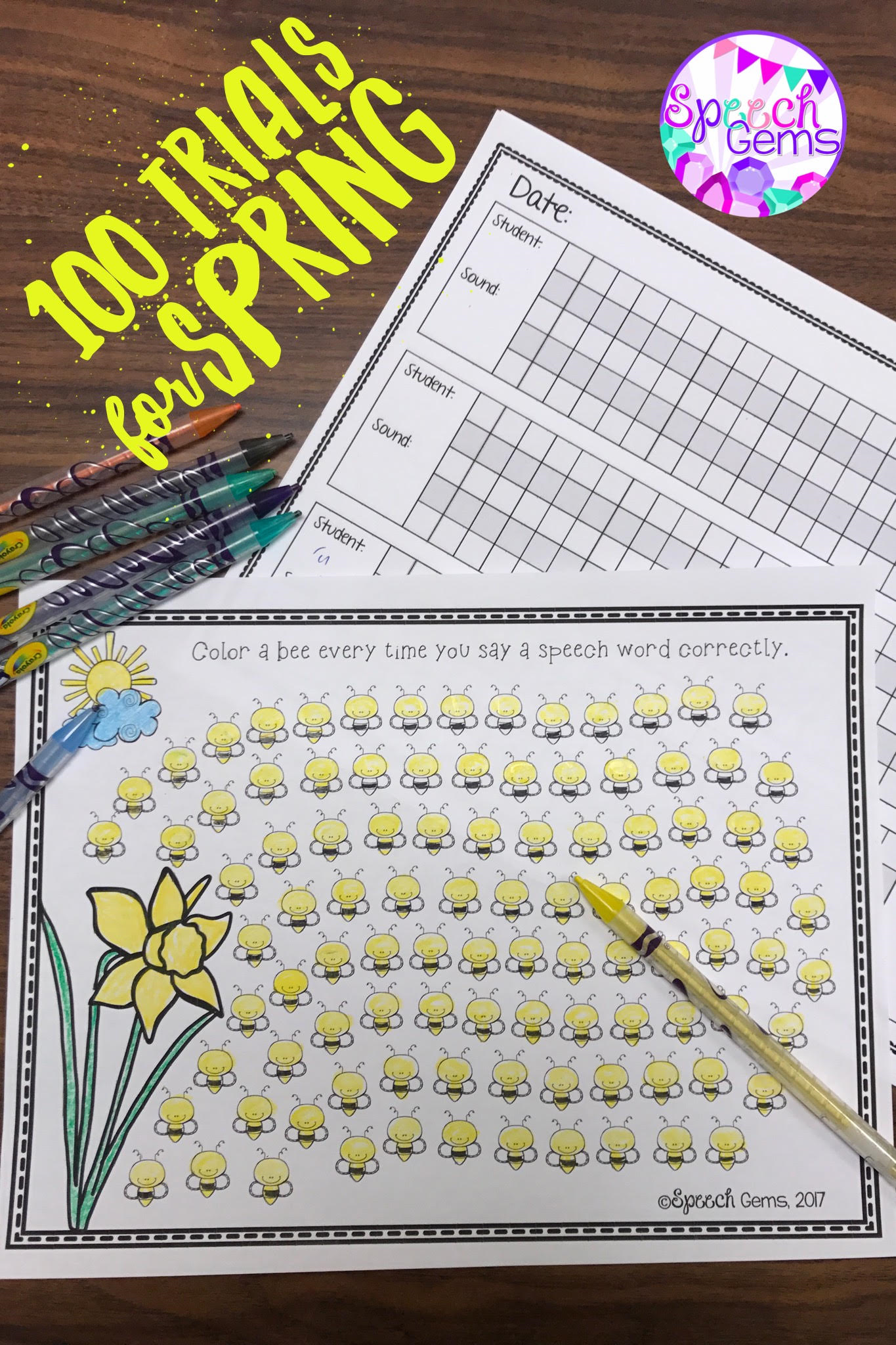 Practice 100 Articulation Trials Using This Spring Themed Sheet