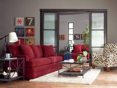 Red sofa gray walls dark wood accents new house ideas pinterest sofa room and living room - Apartment size living room furniture ...