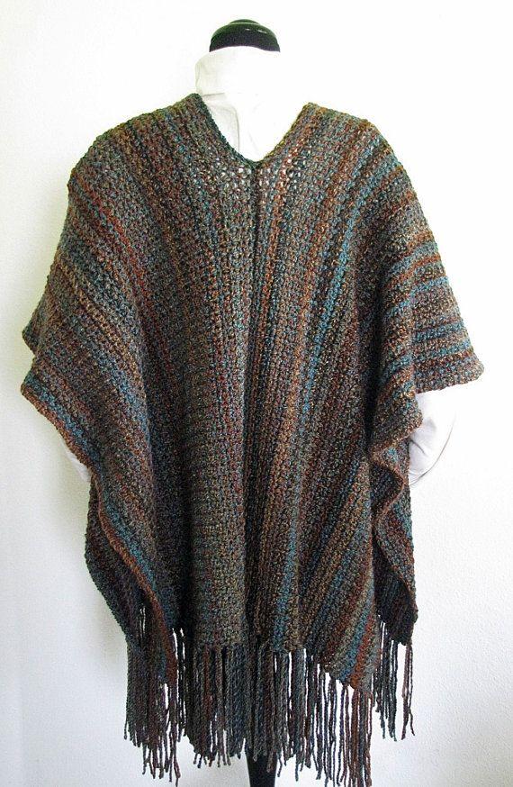 Pdf Crochet Pattern Indian Summer Ruana Wrap Shawl Pinterest