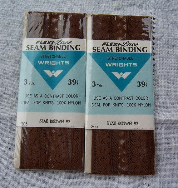 Wrights Brown Flexi Lace Seam Binding 1969 By