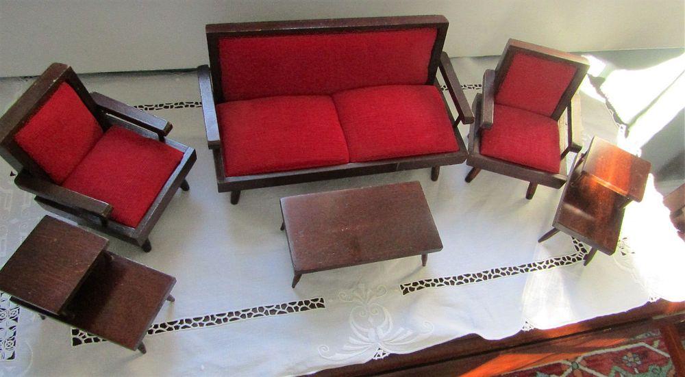 Vtg 1960 S Mid Century Mod Barbie Doll Size Furniture Upholstered Wood 6 Pcs Unbranded Housesfurniture