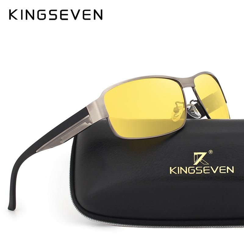6e06e74b247c KINGSEVEN Yellow Polarized Sunglasses Men Women Night Vision Goggles  Driving Glasses Driver Aviation Polaroid Sun Glasses