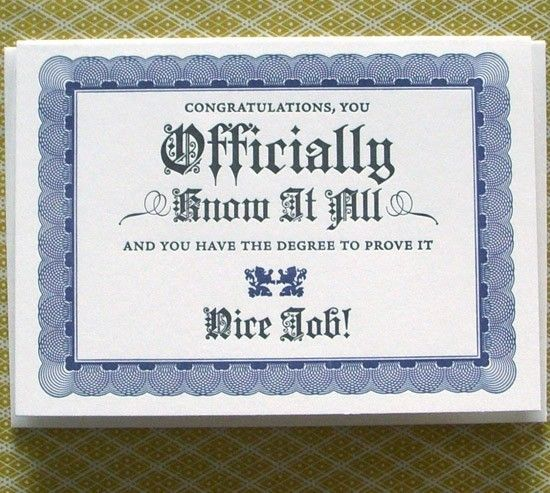 letterpress know it all certificate greeting by afavoritedesign - congratulations certificate