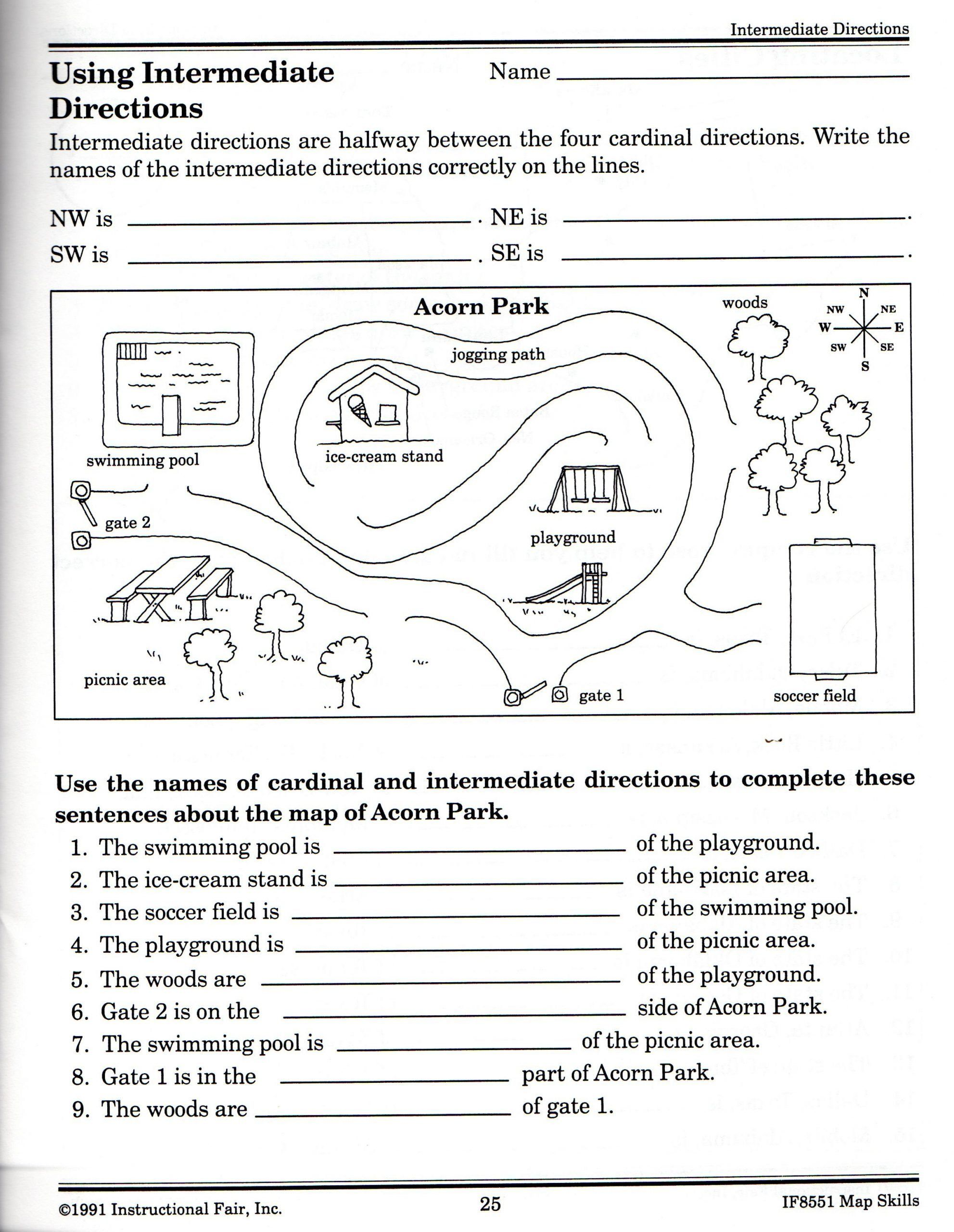 Reading A Map Worksheet Intermediate Directions Worksheet