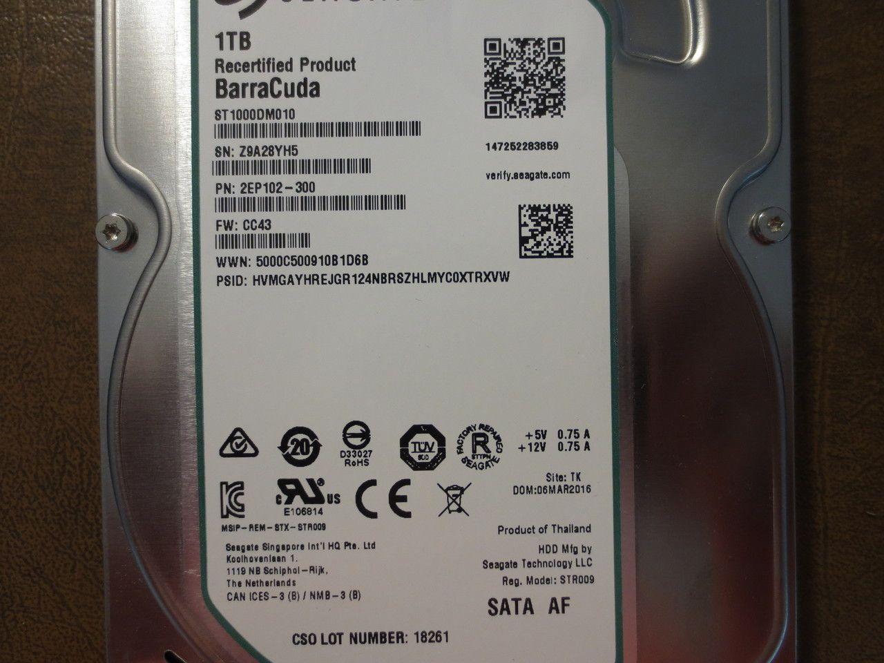 Seagate St1000dm010 2ep102 300 Fw Cc43 Tk 1 0tb Sata Seagate Computer Repair Data Recovery