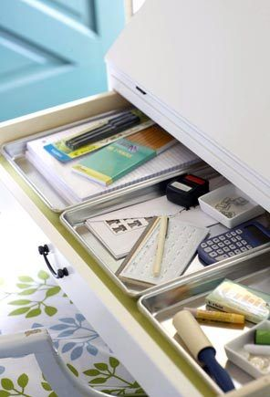 Drawer Organizers Quarter Sheet Baking Pans Make Great Clutter Catchers In Shallow Desk Drawers Designate A Tray For Each Specific Need Such As Organizing