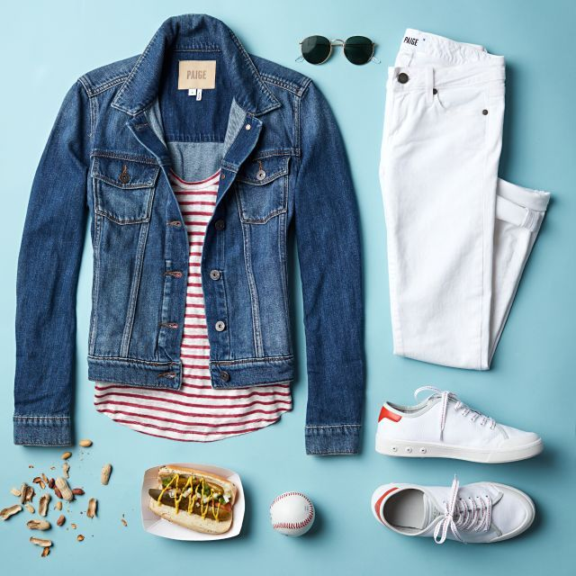 Love this, I could use a striped shirt - i like the red and I think I'm finally ready to give a jean jacket a try.  I have white capris and white converse shoes already