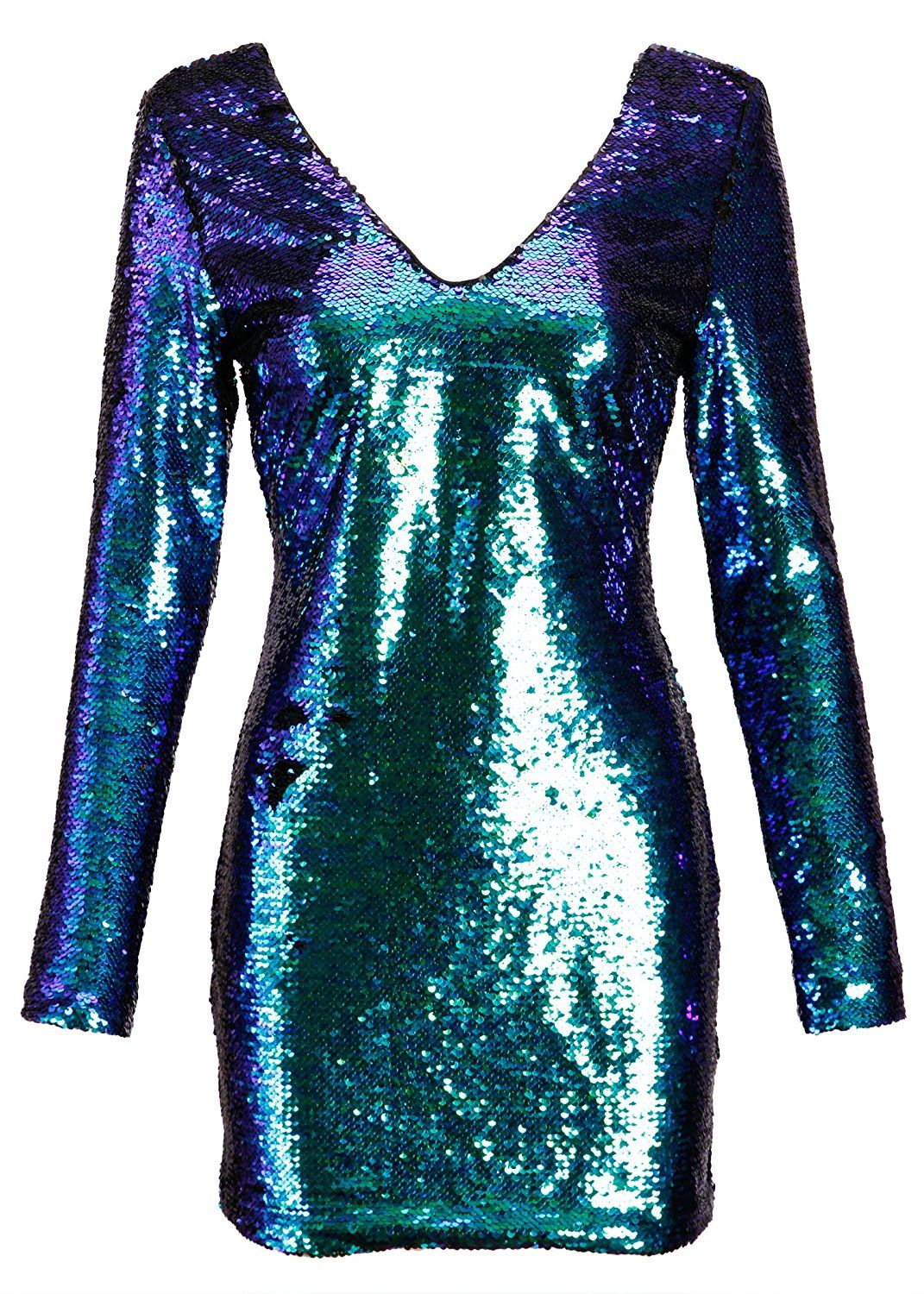 ab662a64 Womens Long Sleeve Blue and Green Mermaid Colored Sequin Dress at Amazon  Women's Clothing store: