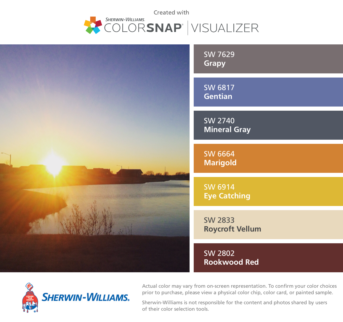I found these colors with ColorSnap® Visualizer for iPhone by Sherwin-Williams: Grapy (SW 7629), Gentian (SW 6817), Mineral Gray (SW 2740), Marigold (SW 6664), Eye Catching (SW 6914), Roycroft Vellum (SW 2833), Rookwood Red (SW 2802).