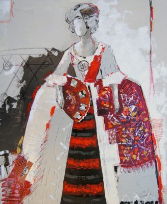 Cuadro-Madame Collage  Size: 100 X 80 cm   Picture painted with acrylics, metallic pastes and collage on canvas.  This picture represents the elegance of a bygone era combined with the abstraction of a more current era. Predominantly silver, pearl, red and purple.--------------------Cuadro pintado con acrílicos, pastas metalizadas y collage sobre lienzo.  Este cuadro representa la elegancia de una época pasada combinada con la abstracción de una época más actual.