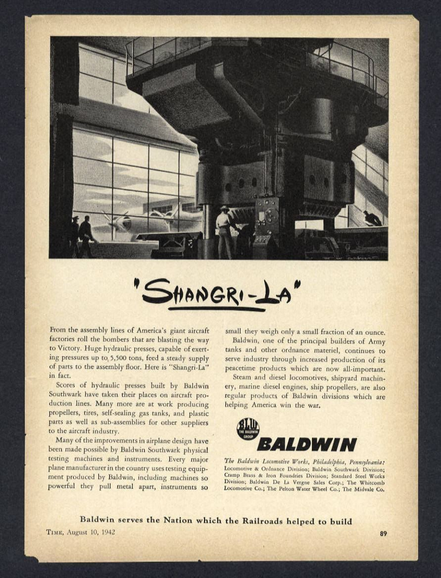 953b7f428 1942 baldwin huge hydraulic press shangri-la vintage magazine print ...