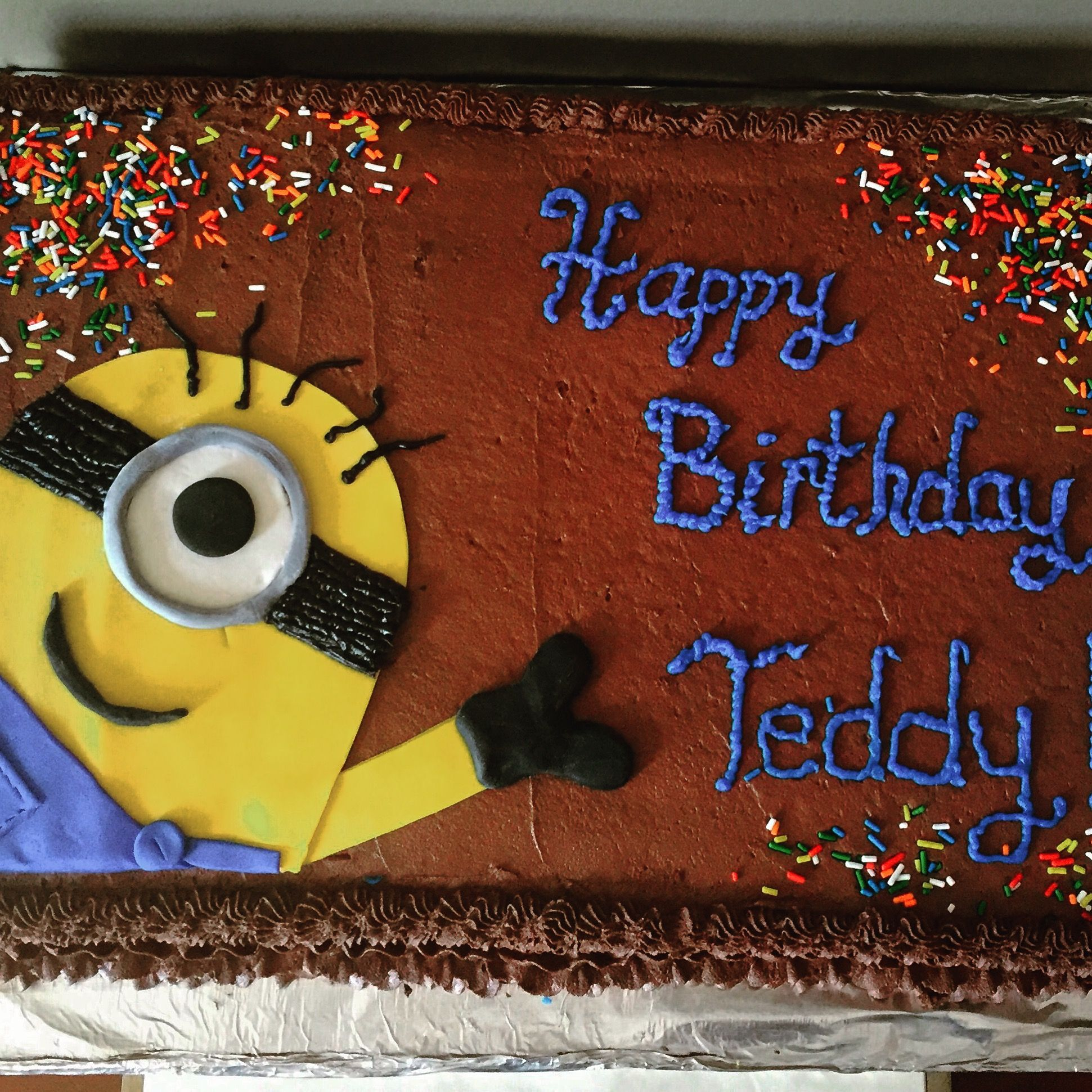 Minions 12 sheet cake Chocolate cake with chocolate frosting