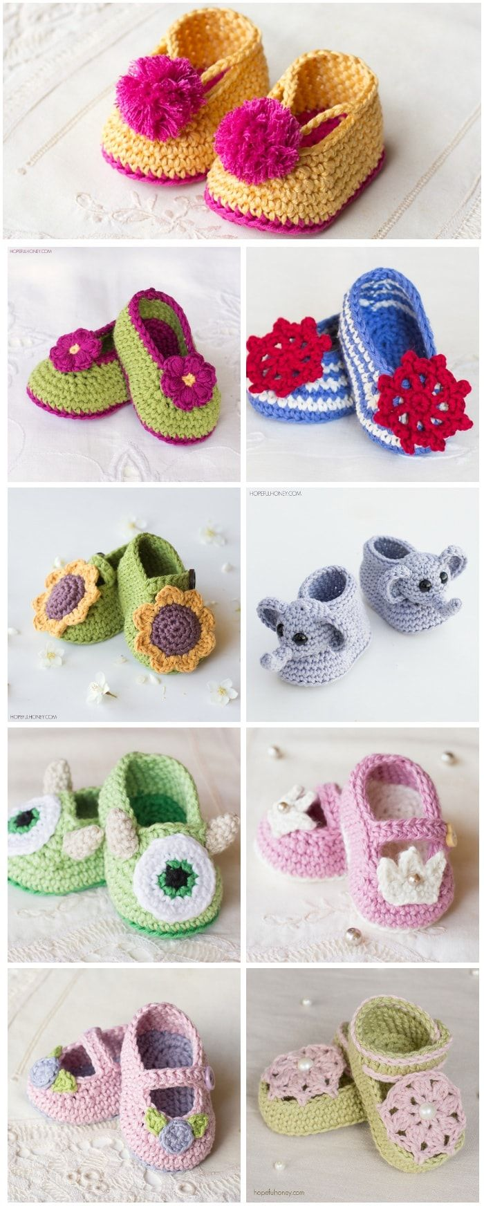 25 Adorable Free Crochet Baby Booties | Zapatillas | Pinterest ...