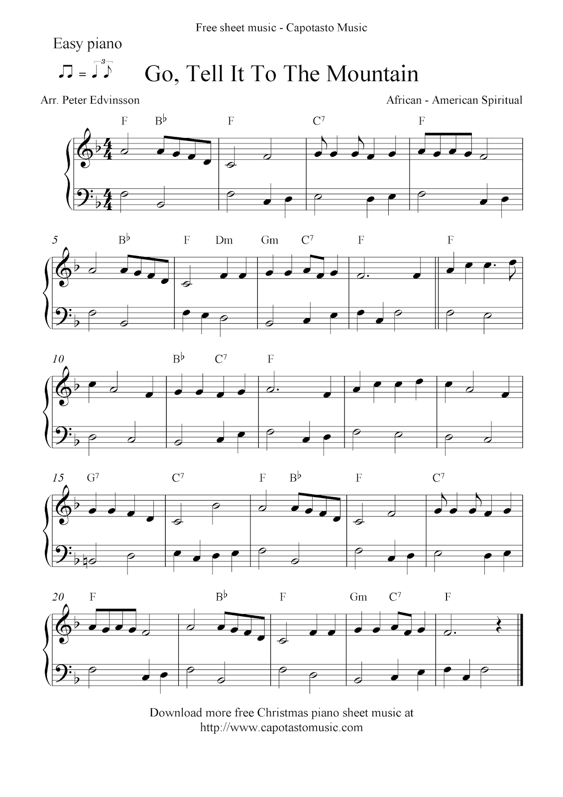 Easy arrangement by Peter Edvinsson for easy piano solo of