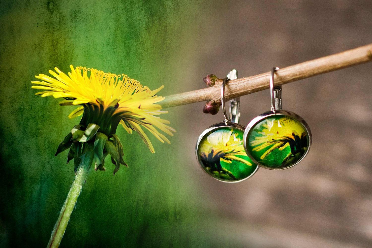 Dandelion Photo Earrings