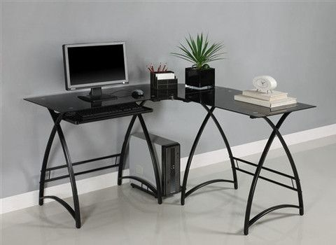 Black Glass L Shaped Desk With Keyboard Tray Black Corner Computer Desk Glass Computer Desks Computer Desk