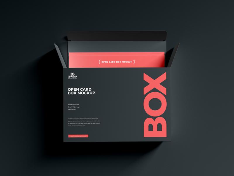 Download Free Open Card Box Mockup Dribbble Graphics Box Mockup Card Box Brochure Design