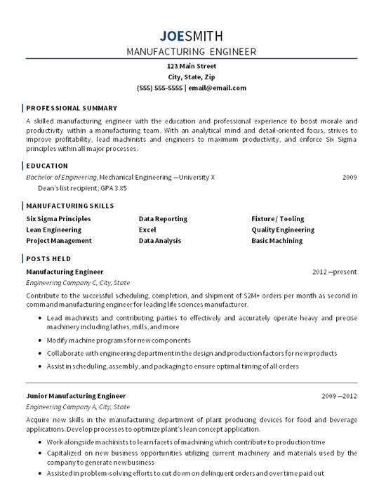 Manufacturing Engineer  Reference Resume  Manufacturing