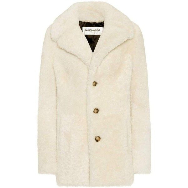 96be6b88b1d Saint Laurent Shearling Coat ($8,735) ❤ liked on Polyvore featuring  outerwear, coats, white, sheep fur coat, shearling coat, yves saint laurent,  ...