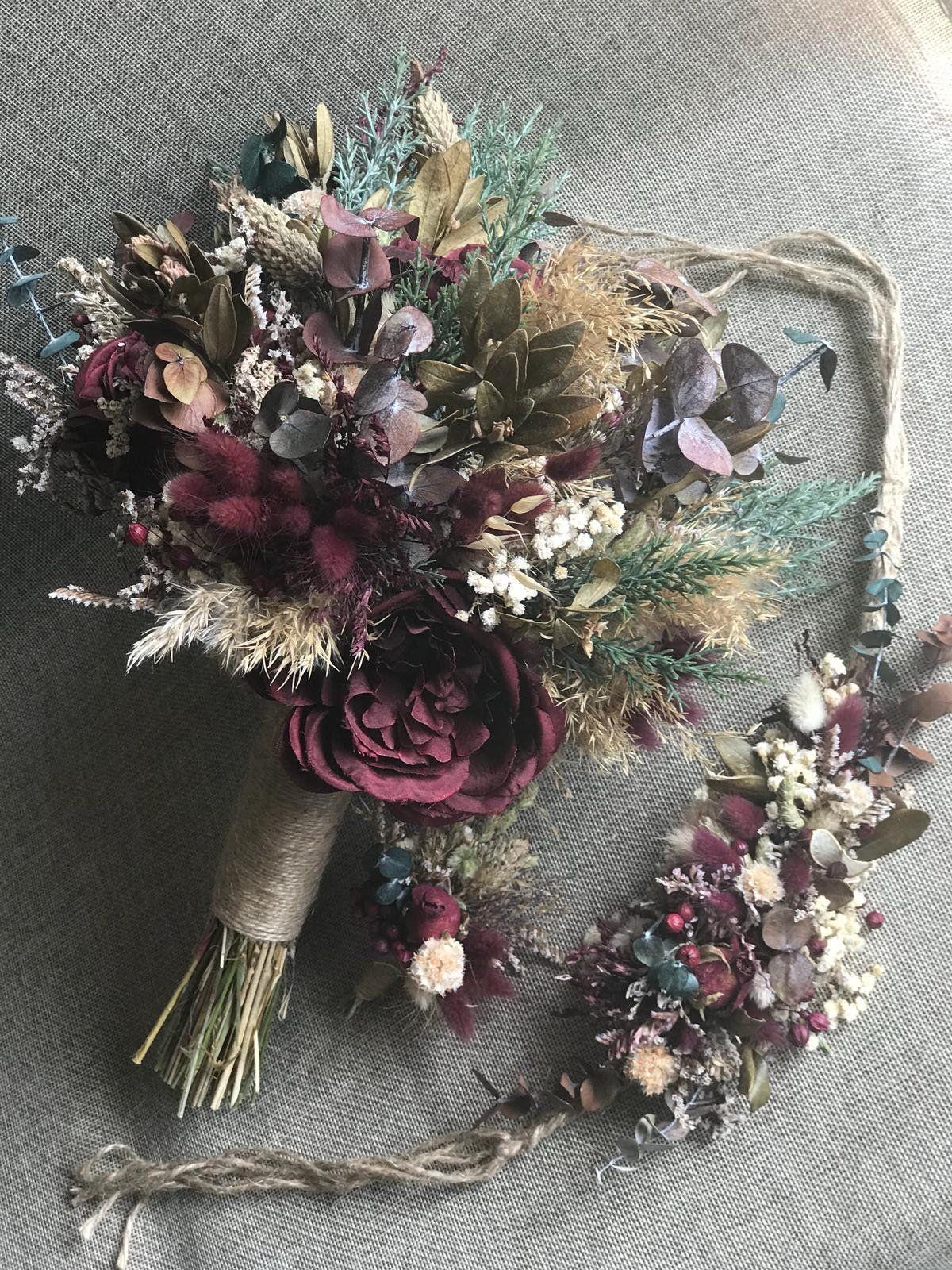 Wedding Dried Flower Set-Bridal Bouquet 5 Bridesmaid Bouquet | Etsy