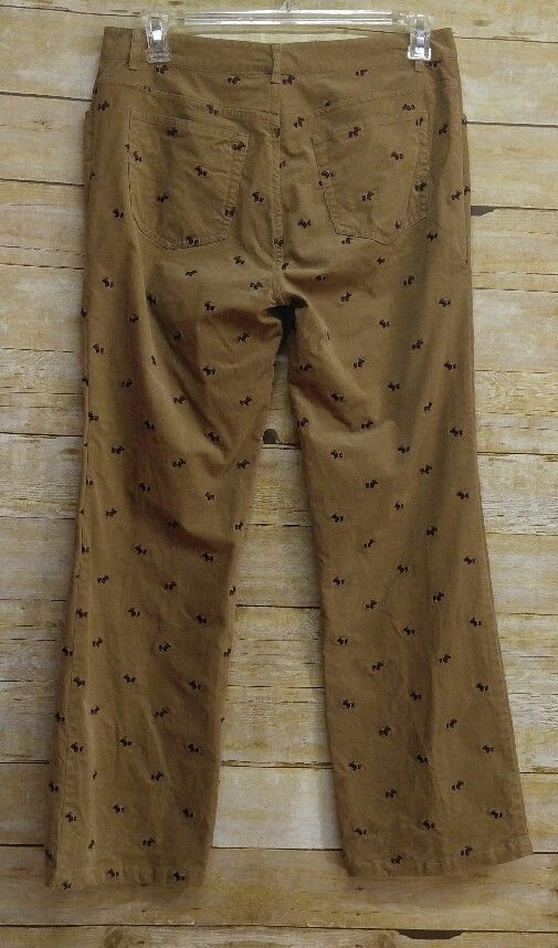 Lilly Pulitzer Tan Brown Corduroy Pants Scottie DogS Embroidery Womens Size  12  LillyPulitzer  Pants a1ee232766
