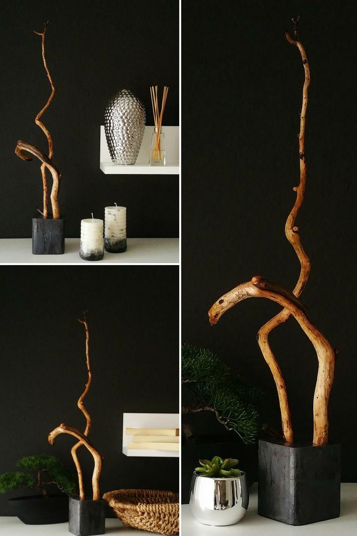 Wohndeko Aus Holz / Skulptur Aus Zweigen Und Beton/ DIY / Holzideen DIY # Selbermachen