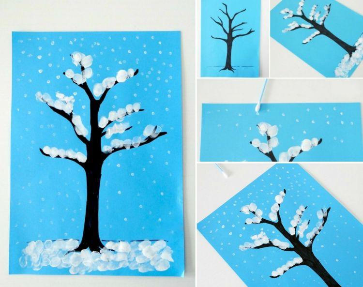 Winter Basteln Kindern Schnee Fingerabdrucke Baum Ohrenstabchen