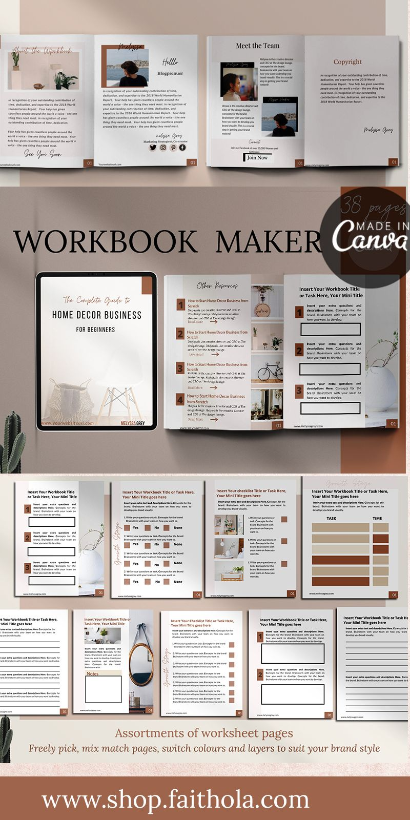 Workbook Template Design for Bloggers and Creative