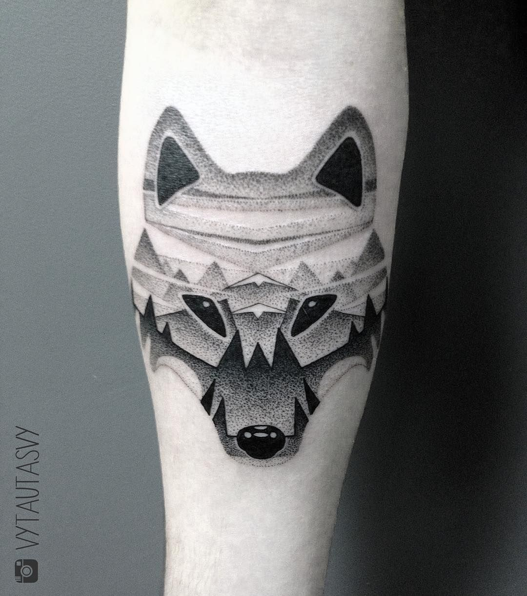 Abstract Wolf Tattoo With Mountains Tattoos For Women Ankle Tattoo Designs Tattoos For Guys