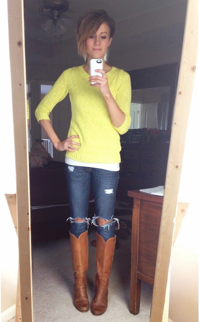 fa3c9fd57ed8 Citron sweater, ripped jeans and tall vintage boots | *what ONE ...