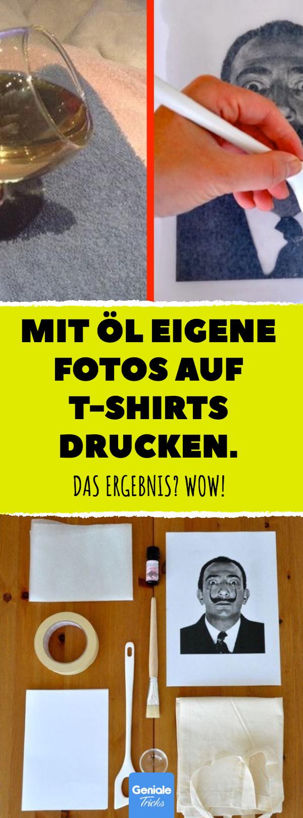 Mit Öl eigene Fotos auf T-Shirts drucken. #upcycling #shirt #print #diy #jutebeutel #lavendelöl #stofftasche #baumwolle #individuell #shirtschnittmuster