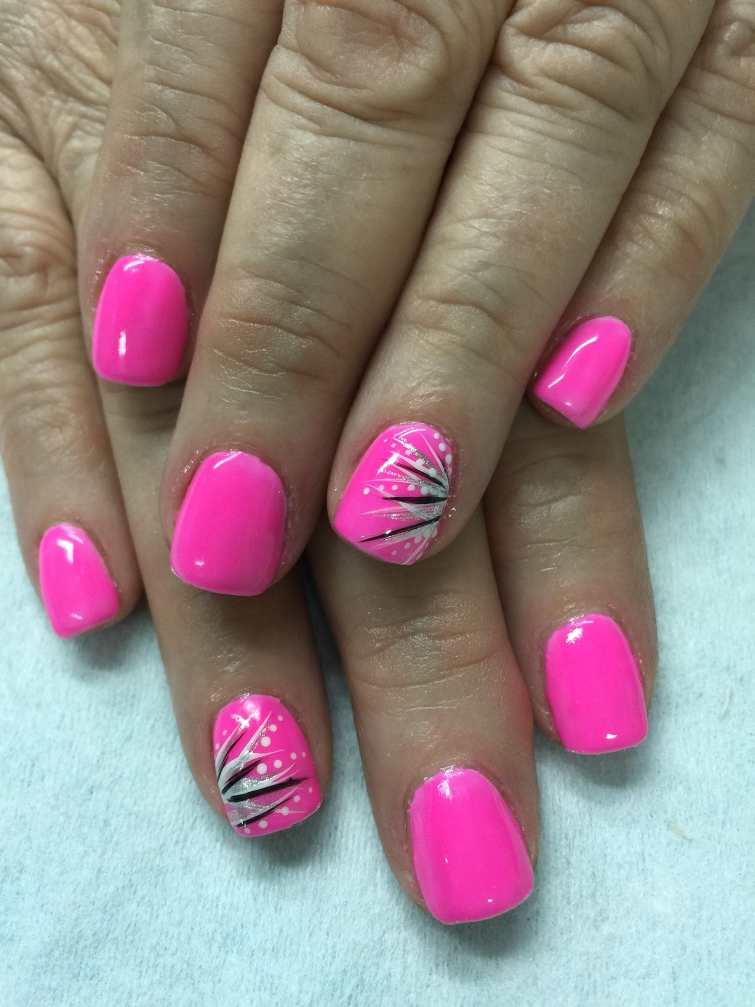 Neon Pink With Fun Accents Gel Nails