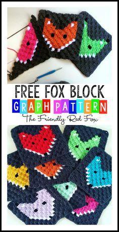 Corner to Corner Crochet Fox Block