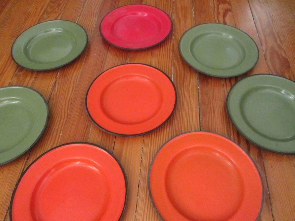 "polish enamelware plates red green orange black trim set of 8 vintage 8 7/8""  free ship within the continental usa #vintage #polish #enamelware"