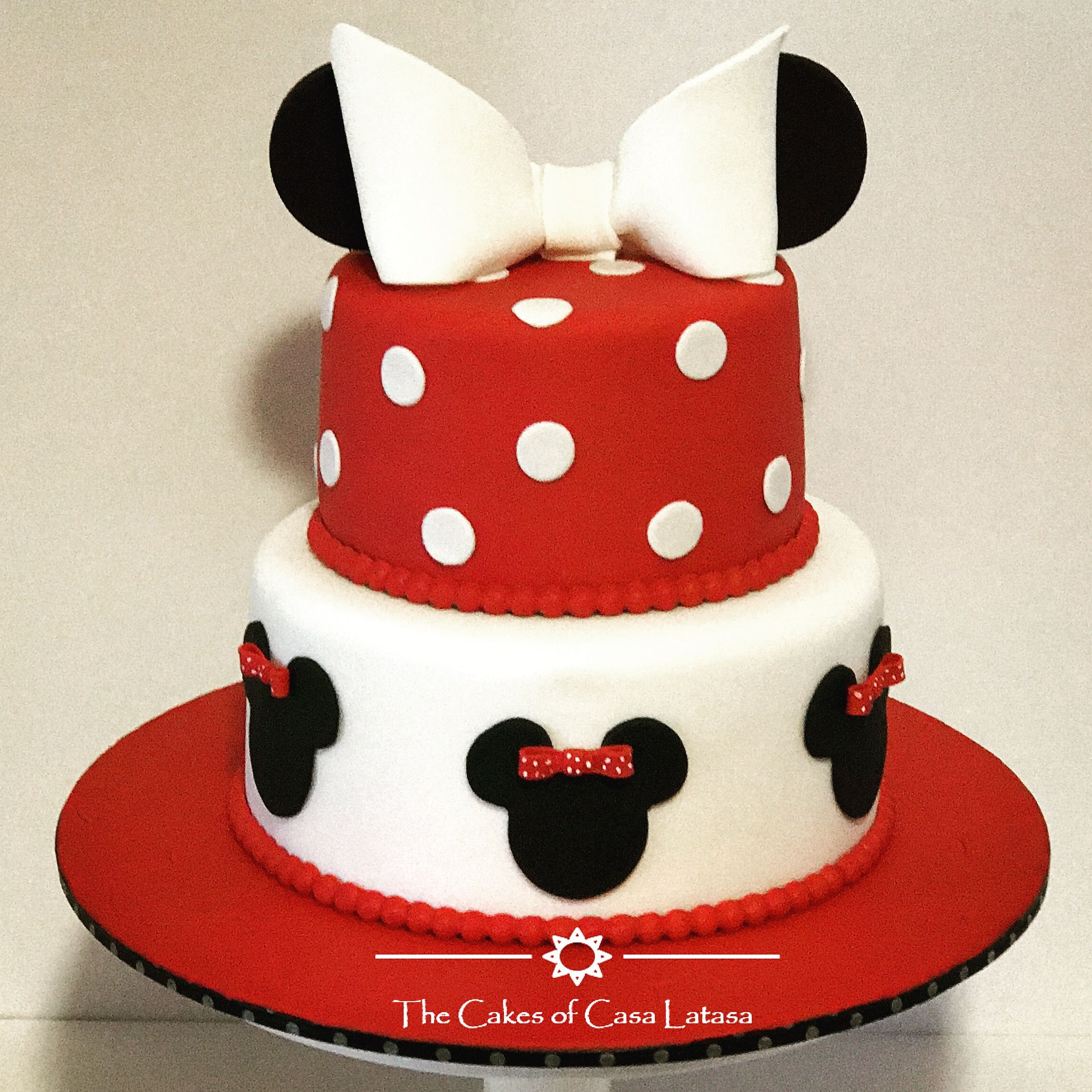 Beautiful Minnie Mouse Birthday Cake With Red Black And