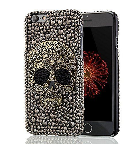 New Handmade Diamond Metal saphire eye Cool 3D Skull Skeleton Bling back Cover DIY Rhinestone phone case for iphone6/6plus (iphone6)