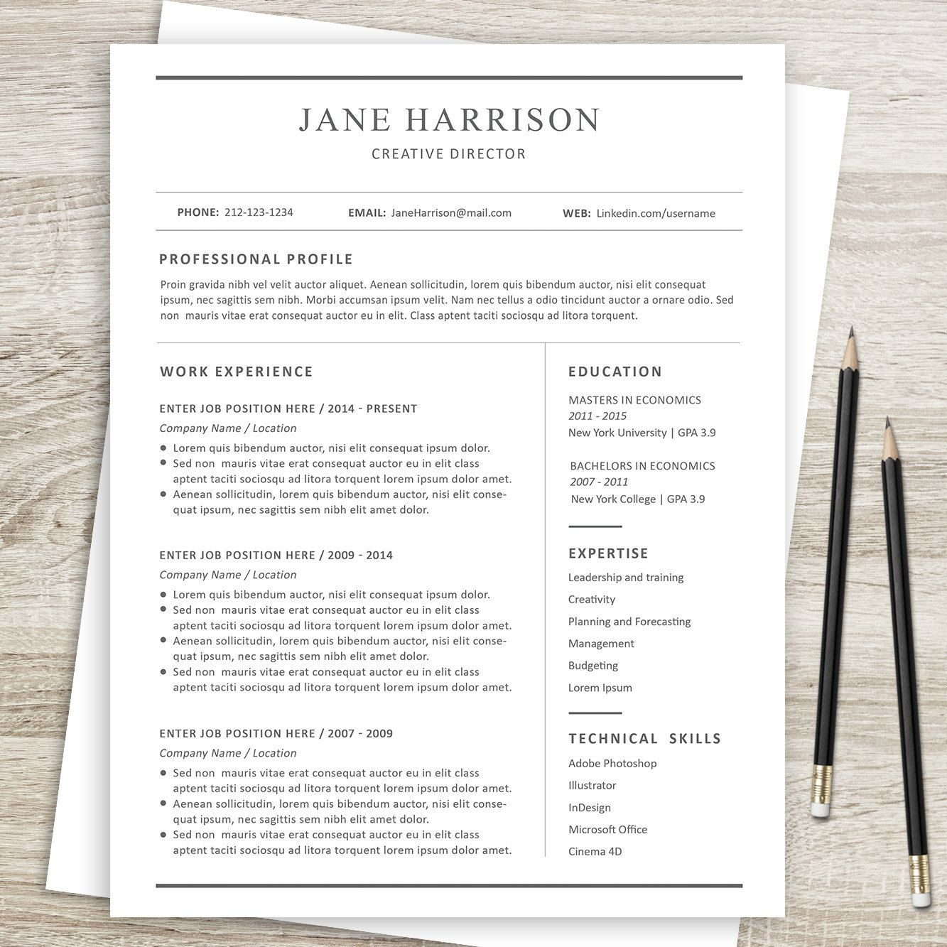 resume cover letter and reference page template professional cv a4 and us letter sizes and word format