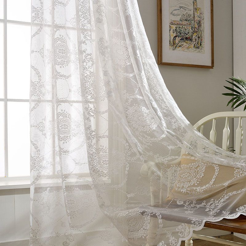 European Simple Sheer Curtain Classical White Sheer Curtain