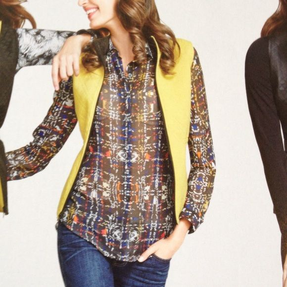 CAbi Blouse Georgette blouse, modern plaid print, long sleeve blouse. CAbi Tops Button Down Shirts