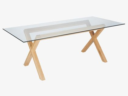 dublin natural wood 6 seater oak and glass dining table