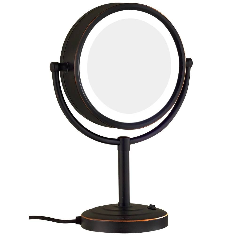 Oil Rubbed Bronze Lighted Makeup Mirror With 3 Mode Lights And 10x