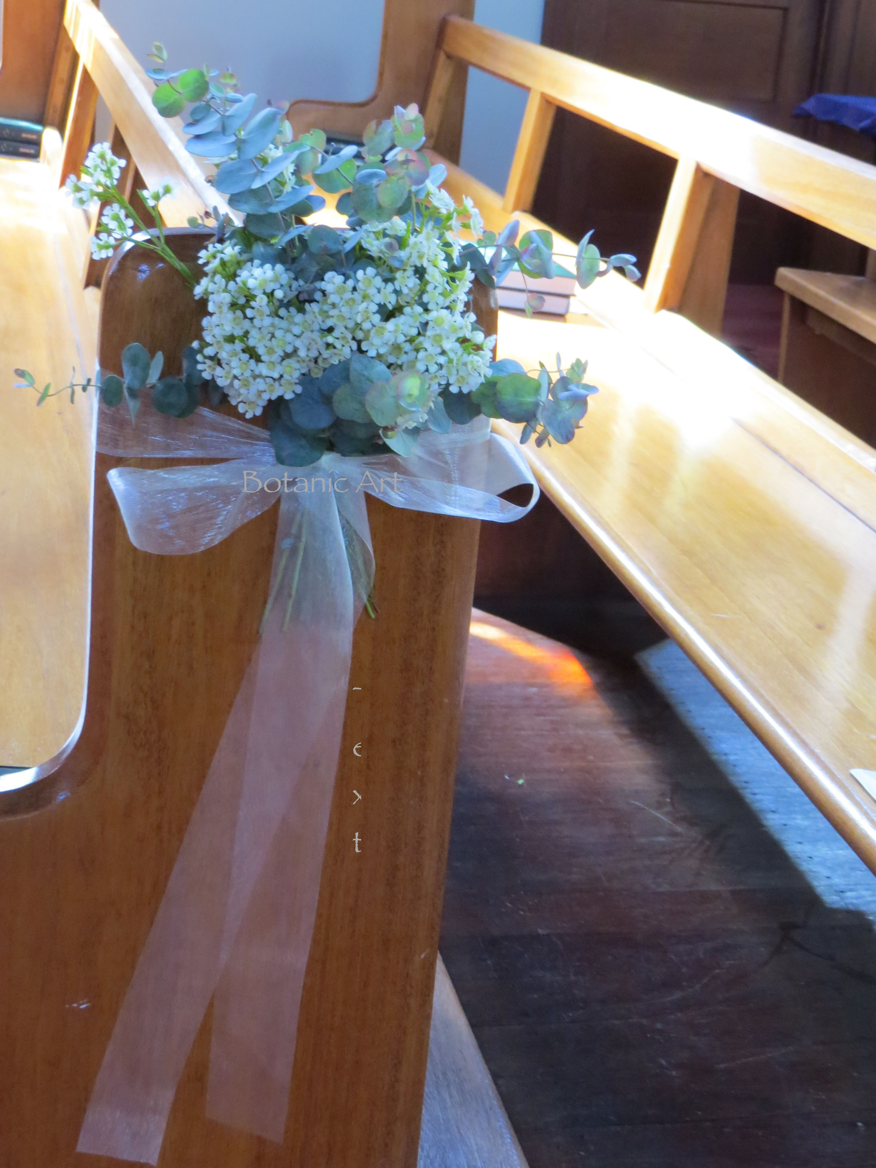 pew ends, church, ceremony flowers, posies, blue gum