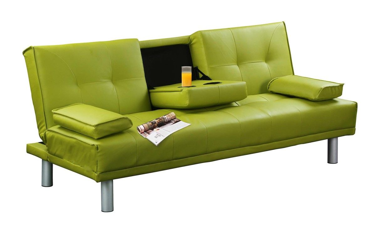 Green Manhattan Modern Faux Leather Sofa Bed Small 3
