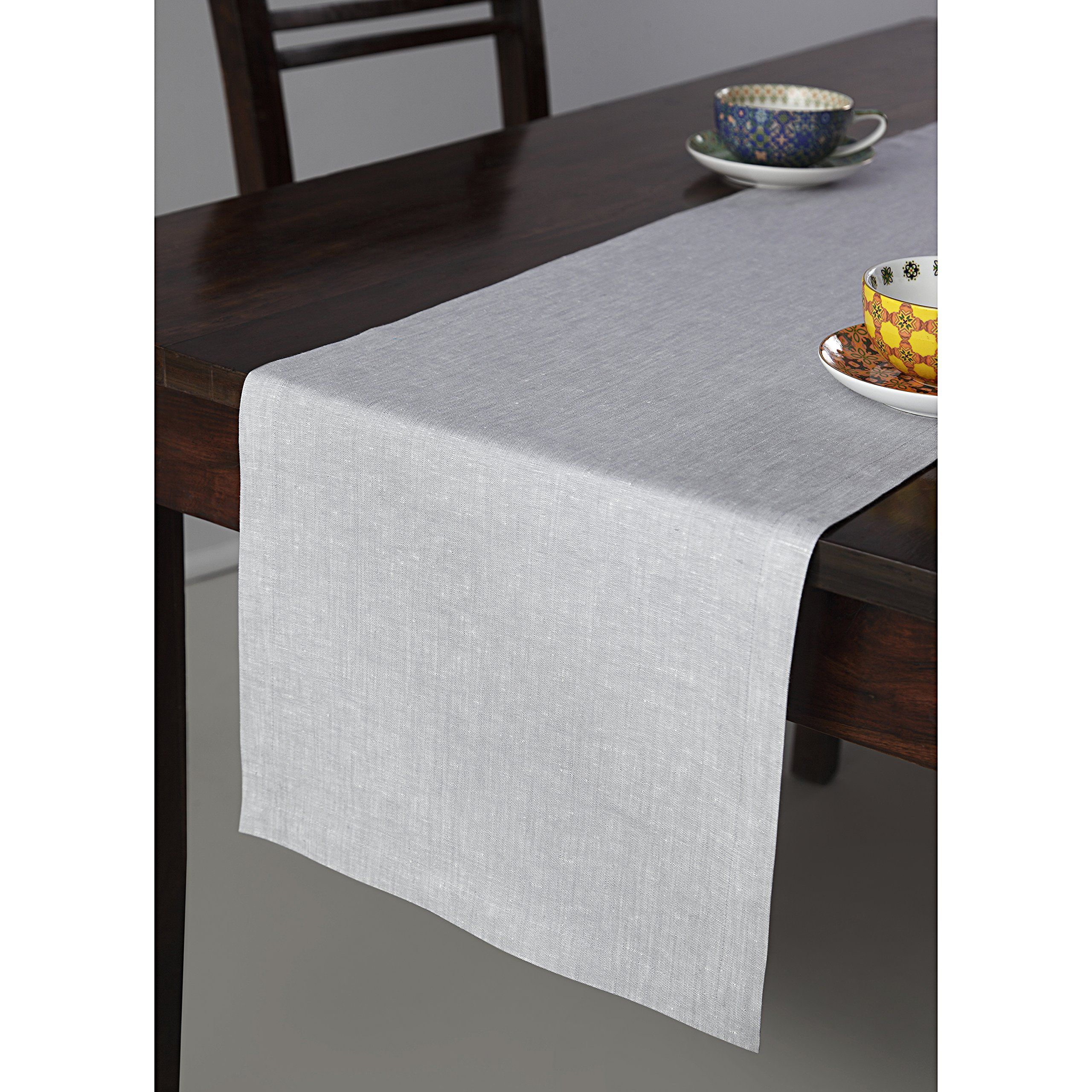 Solino Home 100 Pure Linen Table Runner 14 X 120 Inch Tesoro Runner Natural And Handcrafted From European Flax Light Graphite Linen Table Runner Table Runners Pure Linen